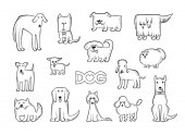Vector set of different dog breeds Funny caricature animals characters Contour isolated black and white sketch illustration The inscription and heart