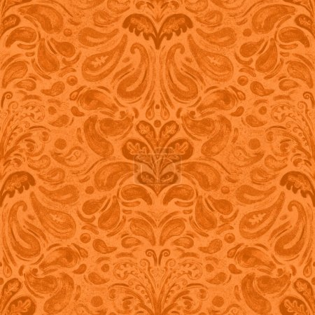 Photo pour Orange Grungy damassé motif répétition sans couture - image libre de droit