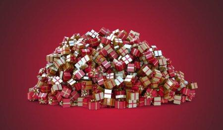 Photo pour Noel gift tas on the red bottom - image libre de droit