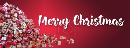 Photo pour Arriere-plan de Noel - Tas de Cadeaux et texte Joyeux Noël - image libre de droit