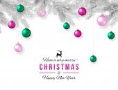 Merry Christmas and Happy New Year Background Elegant xmas decoration silver branch and hanging pink and green balls vector illustration