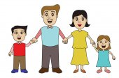 Family Holding Hands Cartoon Characters Vector Illustration