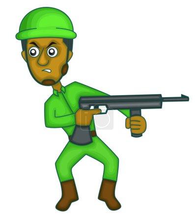 Soldier with Machine Gun Cartoon Character. Vector Illustration.