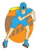 Girl Roller Skate Retro Style Vector Illustration