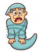 Ebenezer Scrooge Ghost Tied Chain with Cartoon Illustration
