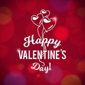 Happy Valentines Day Vector Bokeh Pink Background Typography and Balloon