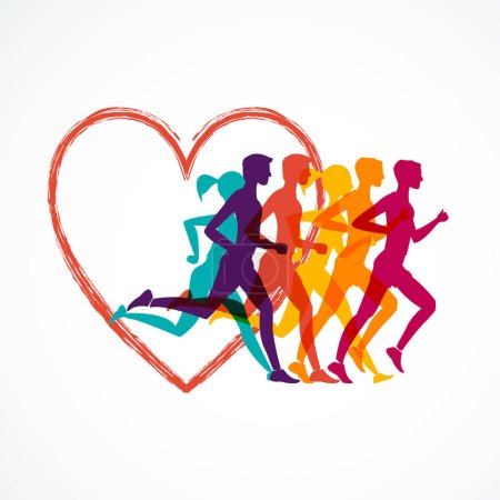 Running marathon, people run, colorful baner