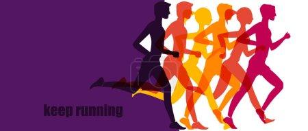 Illustration pour Jogging santé. bannière, mode de vie sain. fitness exercice style de vie dessin animé vecteur concept - image libre de droit