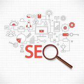 Concept of seo technology web traffic optimization conversions marketingFlat thin line design vector illustration