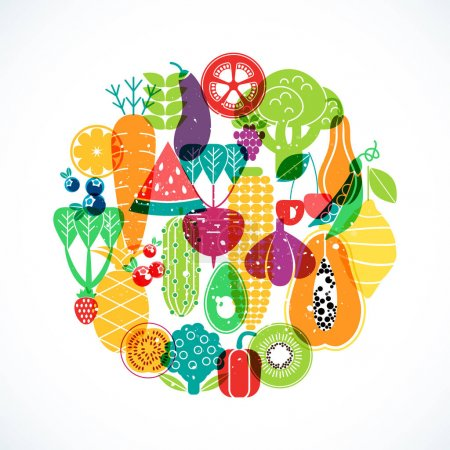Illustration for Vector round pattern of vegetables. Organic fruits and vegetables template. - Royalty Free Image