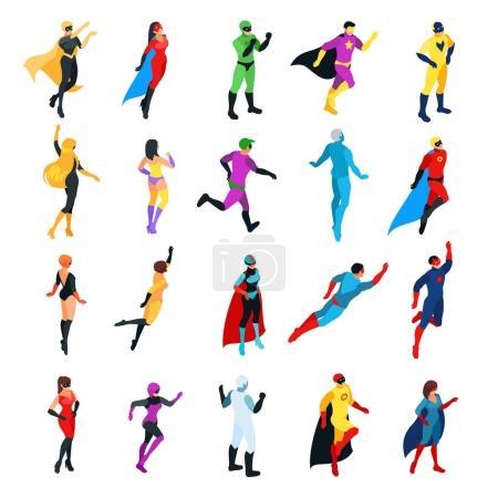 Set of isometric superheroes isolated