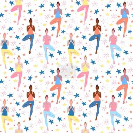 Illustration for Yoga classes for women. Seamless vector pattern. Hand drawing. Cartoon drawing. Design for textiles and Wallpaper. Lifestyle, sports. - Royalty Free Image