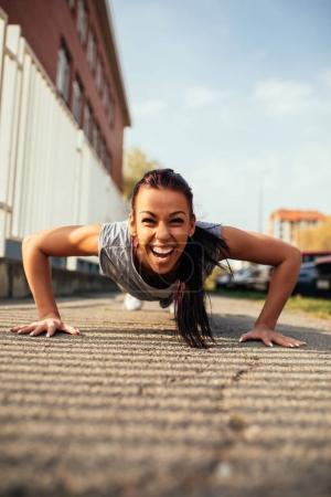 Doing push ups