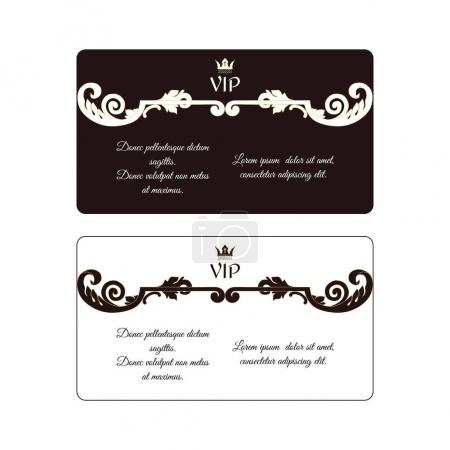 Set of two elegant horizontal discount cards in Victorian style with white and brown colors with dividers. Suitable also for business, branded and personal cards.