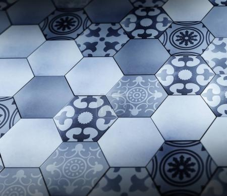 Hexagon floor with Provence pattern