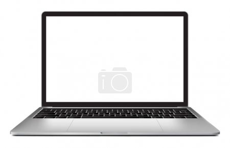 Laptop with blank screen 13 inch isolated on white background