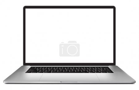 Laptop with blank screen 15 inch isolated on white background