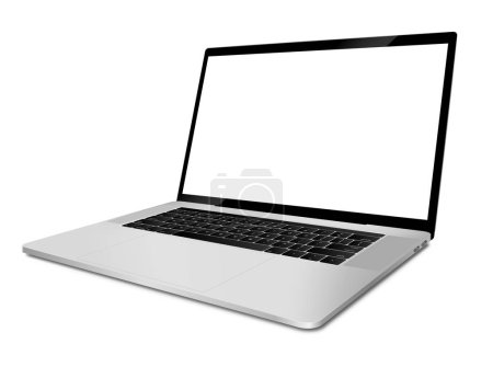 Laptop with blank screen angled view.