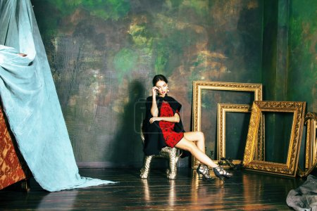 Brunette woman in luxury interior