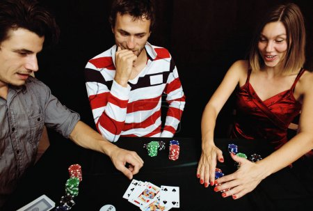 Photo for Young people playing poker off-line tournament, friends party concept at home - Royalty Free Image