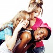 Diverse nation girls group, teenage friends compan...