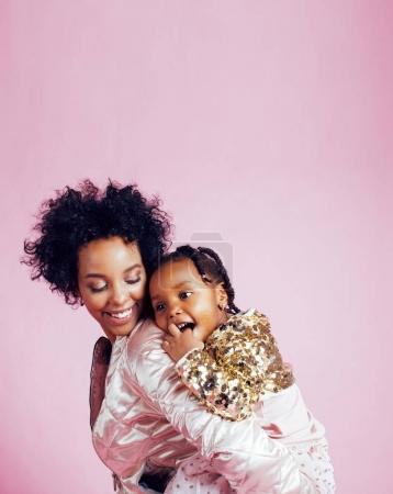 african-american mother with little cute daughter
