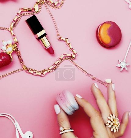 woman hands with jewelry and manicure