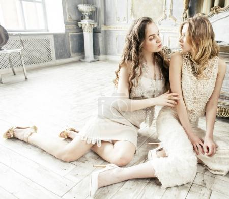 pretty twin sisters in luxury interior
