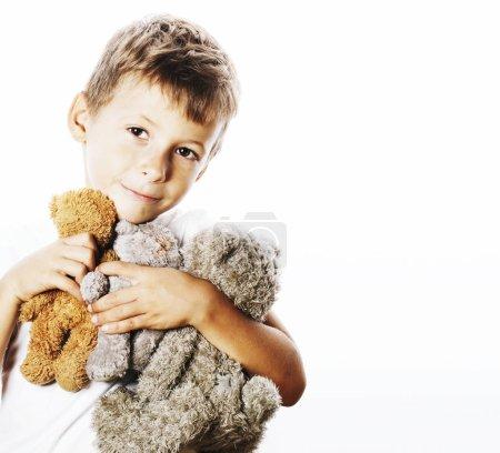 little cute boy with teddy bears
