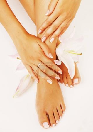 beauty delicate hands with manicure