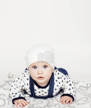 Photo for Little cute baby boy close up isolated, adorable kid at home - Royalty Free Image
