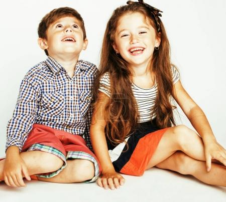 little cute boy and girl  playing