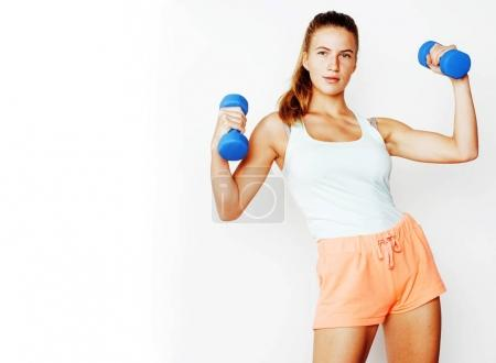 slim woman with dumbbells
