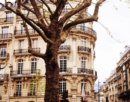 houses on french streets of Paris. citylife concept, black balco