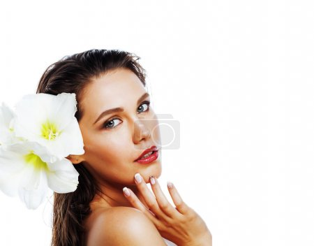 Photo for Young pretty woman with Amarilis flowers close up isolated on white, hands manicure - Royalty Free Image