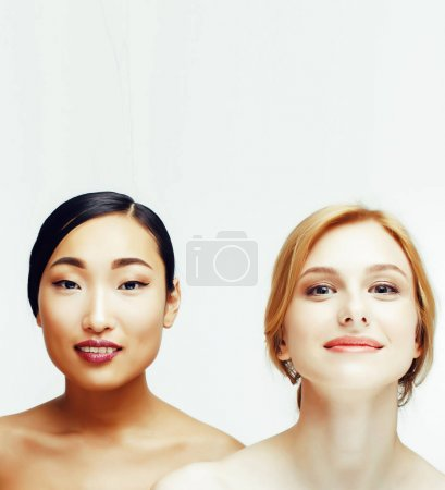 different nation woman: asian, african-american, caucasian together isolated on white background happy smiling, diverse type on skin, lifestyle people copyspaceconcept