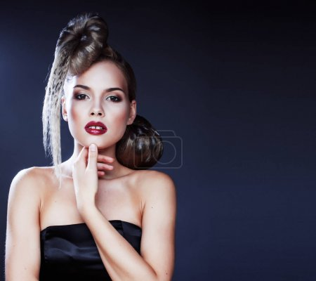 young elegant woman with creative hair style leopard print