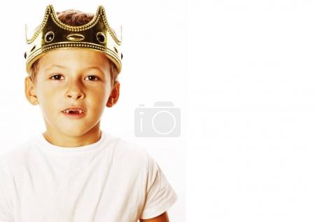 little cute boy wearing crown isolated close up on white