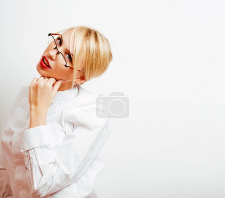 Photo for Young pretty blonde real girl presenting something at white copy space, isolated on white background gesturing emotional - Royalty Free Image