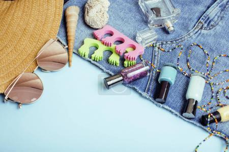 diverse travel girlish stuff on colorful background blue and yel