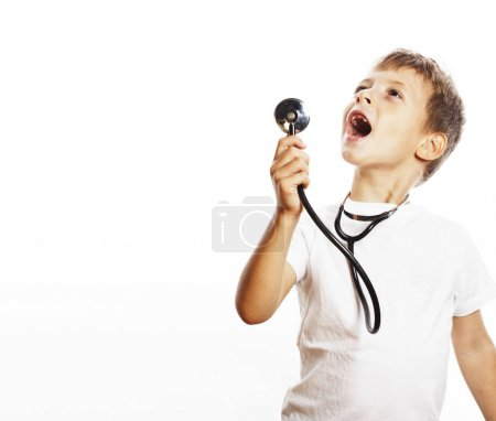 little cute boy with stethoscope playing like adult profession d