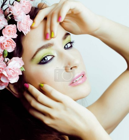 Photo for Beauty young woman with flowers and make up close up, real spring beauty girl floral pink manicure copyspace - Royalty Free Image