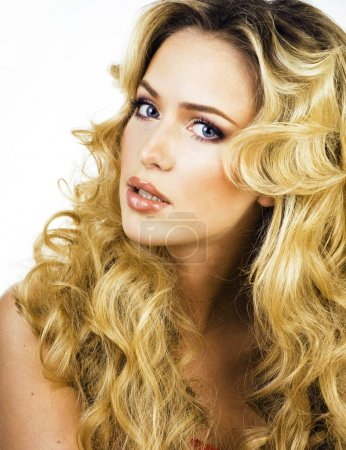 beauty blond woman with long curly hair close up isolated, hairs