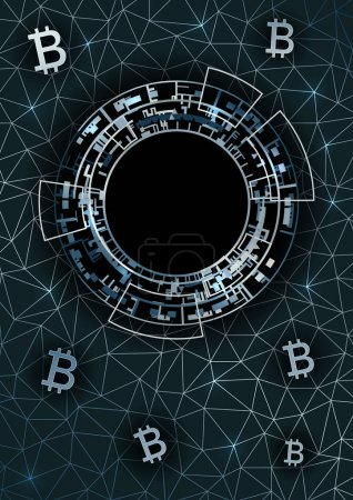Vertical background with bitcoin symbols.