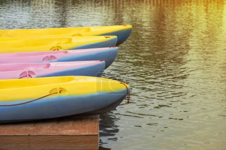 Close-Up colorful kayaks on the tropical lake