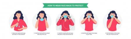 Illustration pour Comment porter un masque. Femme présentant la méthode correcte de porter un masque, pour réduire la propagation des germes, virus et bactéries. Illustration vectorielle dans un style plat isolé sur fond blanc . - image libre de droit