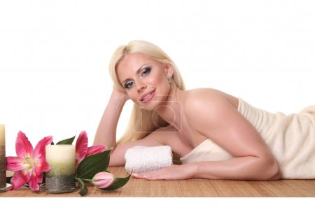 Healthy Caucasian Girl Relaxing In The Spa Salon.