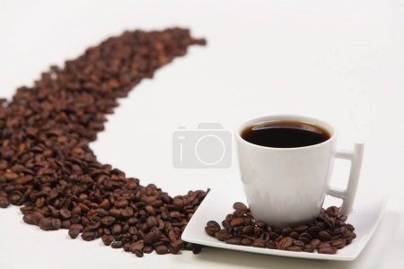 Photo for Coffee cup with beans on white background - Royalty Free Image