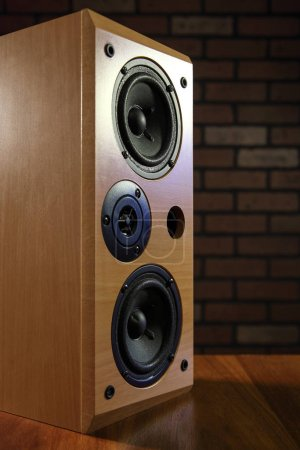 Photo for Wooden stereo sound speakers on dark background - Royalty Free Image
