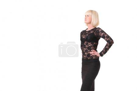 Photo pour Young slim blonde on a white background - image libre de droit